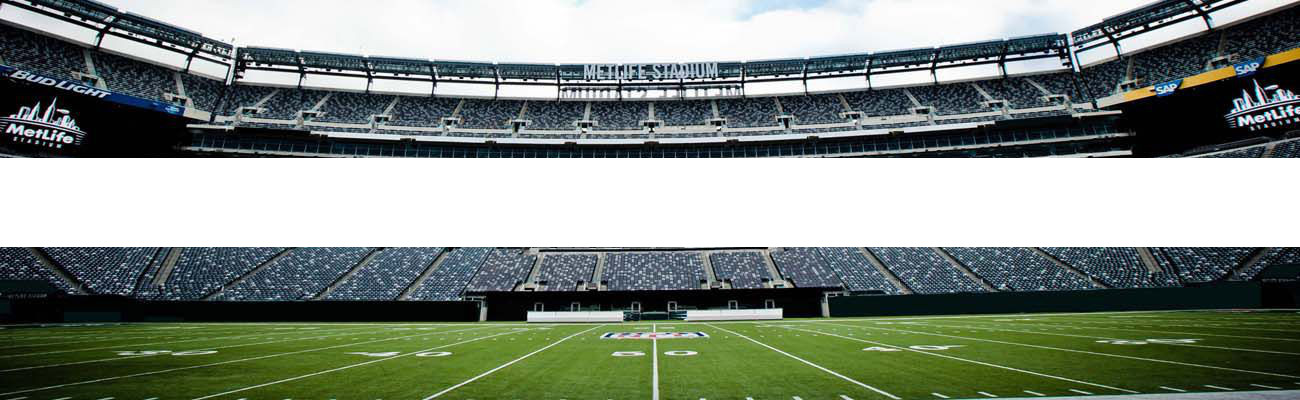 MetLife stadium with promotion for #1 hotel for local sporting venues button